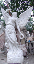 Female Angel Marble With A Trumpet Stone Statue Hand Sculpture Carved