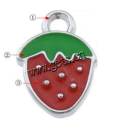 Zinc Alloy Fruit Shape Pendants Strawberry plated Customized & enamel more colors for choice nickel lead & cadmium free 12x17x2
