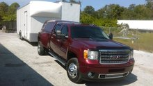 2014 GMC DENALI 4X4 3500 DIESEL DUELLY TRUCK WITH 26 FT WELLS CARGO TRAILER SHIPPING