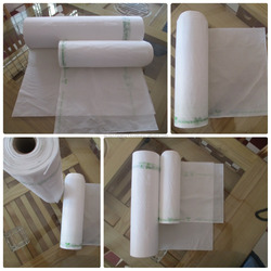 Plastic bag on roll at factory