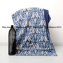 Blue Kantha Quilt Bedspread Queen Size Multi Ikat Print Kantha Quilt Blanket Throw Ikat Cotton Quilt Supplier