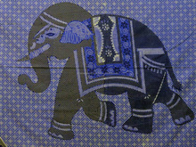 Elephant tapestry traditional Indian patchwork screen printed batik bed cover elegant wall hanging