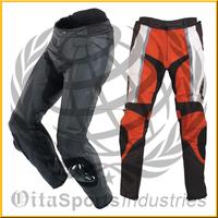 Motorbike Pants black with red line/ Motorcycle Men Genuine Leather Pant