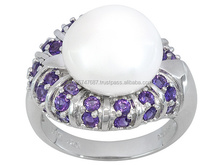 Pearl Fashion Ring, Silver Jewelry, 925 Sterling Silver Jewelry, PMH042A