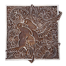 Decorative Love Birds Wooden Hand Carved Textile Stamp Collectible Block PB3028A
