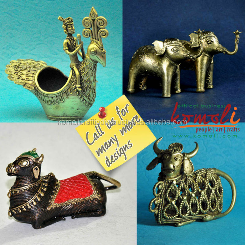 Home Decor Items Dhokra Nandi Statue Elephants Peacock