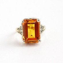 Natural Deep Yellow Beauty Jewellery - Faceted 14x10 mm Octagons Shaped Yellow Sapphire Gems 92.5 Silver Rings at wholesale