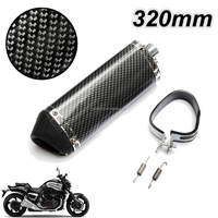 Audew 2015 New Motorcycle Exhaust Muffler w/ Movable Silencer Carbon Fiber Color Scooter Metal