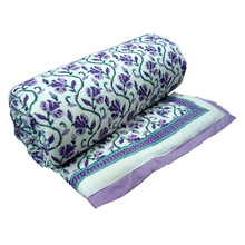 Indian Hand Block Printed Queen Size Quilt Violet Creeper