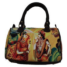 Fancy Wholesale Cute Newest Fashion canvas Radha Krishan Digital Print Bags Handbags For Ladies Fashion Women Tote Shoulder Bag