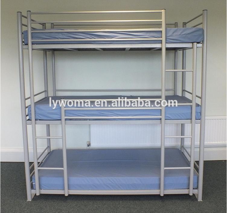 Bedroom Furniture Three Tier Bunk Bed Metal Triple Bunk Bed - Buy ...