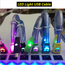 Wholesale 1m Flat Visible Luminous Smiling Face Micro USB Cable LED Glow Sync Data Charger Cables for Samsung HTC Android cable