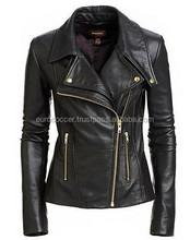 Leather Jacket Coat Women Motorcycle New Womens Biker Soft Black Jacket