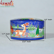 Papier Mache - Paper Mache Hand Painted Lacquered Small Candy Box Deer Design