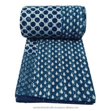 Queen Size Patchwork Cotton Bedspread, Indigo color Hand Block Printed Kantha Quilt, Made By Vandana Handicraft Of India