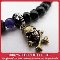 Black Spinel Bracelet with skull and crossbones and two Purple Crystals, Japanese cool bracelets, trendy Japanese bracelet