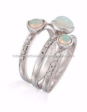 Ethiopian opal ring/Multi opal gemstone ring/wholesale silver ring