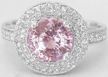 Buy Natural Unheated Pastel Sapphire Jewelry at wholesale, 16 mm Round Shaped Light Pastel Sapphire Ring
