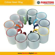 Sublimation 11oz Coated Ceramic two tone color rim mug ,heat transfer printing mug