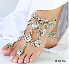 PAYAL Anklets pair TOE RING antique silver TONE