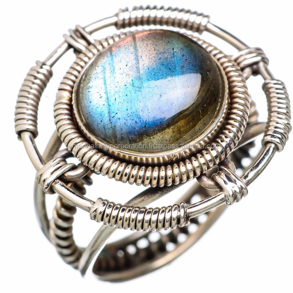 Bijoux Western Argent : V?ritable labradorite argent fil enroul? anneau bijoux d