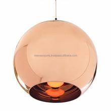 Modern copper shade glass pendant lamp