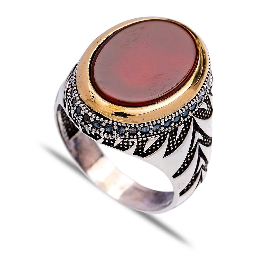 agate ottoman silver ring wholesale handcrafted turkish