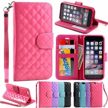 Glossy Quilted Flip PU Leather ID Wallet Case Cover with Strap Case For 6 4.7