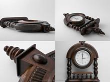 Wooden wall clock with pillars handmade