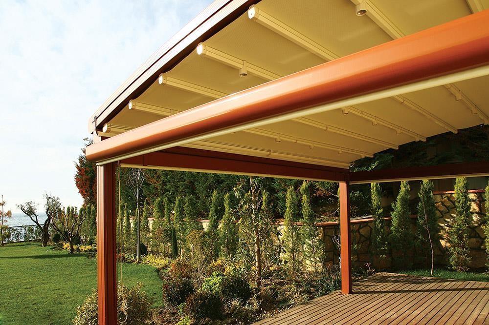 retractable aluminium pergola system with fabric sail. Black Bedroom Furniture Sets. Home Design Ideas