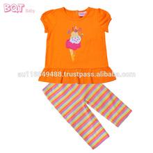 Ice- creme de história do verão top+pant 2 pcs elegante bordado roupa para bebe
