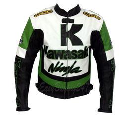 Men's Black White green K Kawasaki ninja Motorcycle Biker racing leather jacket