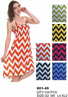 Women's Chevron Print Smoked Tube Short Dresses Style 801-49