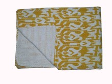 Nueva tela de algodón Kantha del edredón del tiro Ralli art Gudari colcha zigzag sábana de impresión