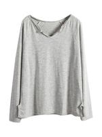 V Neck Slit Hem Loose Style Leisure T Shirt