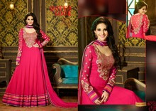Fabulous royal look collection full anarakali with heavy embroidered & full sleeves rose pink salwar kameez