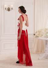 red and white chiffon style bridesmaid wedding dress high low dresses