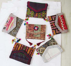 2015 Gypsy Tribal ethnic vintage banjara clutch multi color mirror work clutch bags