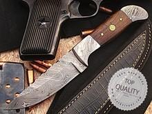 Hunting Knife, Custom Handmade Damascus Steel Fixed Blade Knife YV-405 Walnut Wood,Damascus & Mosaic Pin Handle