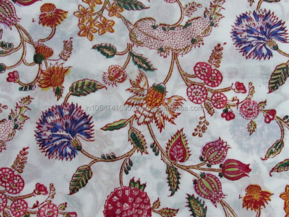 Indian hand block print fabrics sanganeri jaipuri printed for Printed cotton fabric