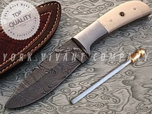 Hunting Knife YV-AB13 with Custom Handmade Damascus Steel Fixed Blade & Camel, Steel & Mosiac Pin Handle
