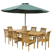 Teak Dining Table and Stacking Chairs Garden Outdoor Furniture NFG18