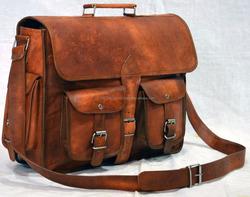 Indian real leather medium unisex messenger shoulder sling side bag vintage