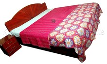 KTKG-48 Double Bed Cover Floral Suzani Printed Kantha Gudri / Throws