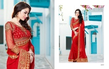 Red Color Crytal Chiffon Designer Saree with Raw Net Blouse