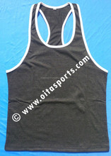 best quality 100% cotton charcoal grey / white t & y back gym stringer vest tank top singlet