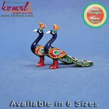 Beautiful Home Decor Peacock German Silver Enamel Work - Vibrant Color - Indian Handicraft Handmade Small Size