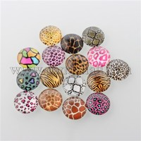 Animal Skin Printed Glass Cabochons, Half Round/Dome, Mixed Color, 16x5mm