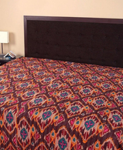BRKQ- 01 Handmade Ikat handblock Kantha Quilt multishade and Handmade Reversible Bed Sheet, Throws, bedding Bedspread