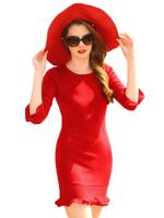 Bright Slim Ruffles Stretch Sweater Dress
